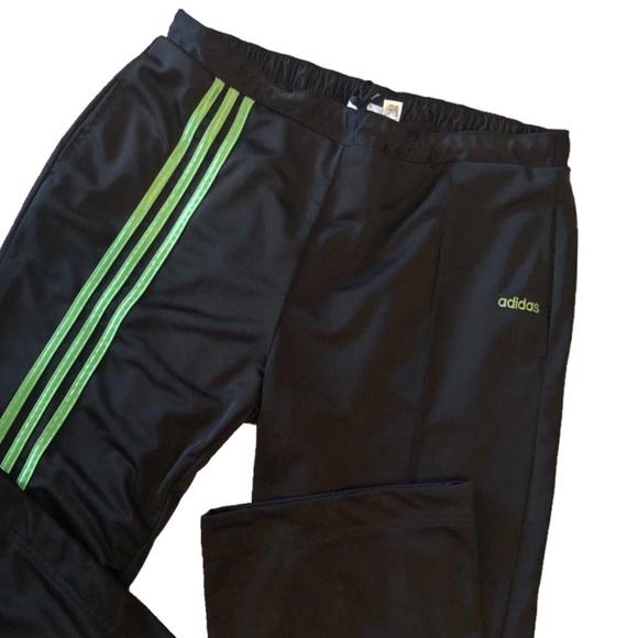e8e7fcb9cd70 adidas Pants - Adidas Black   Neon Green Stripe Track Pants